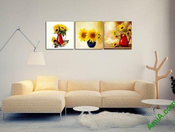 tranh binh hoa huong duong dep treo phong khach ghe sofa
