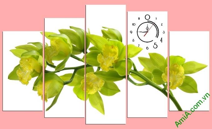 tranh hoa lan vang ghep bo nhieu tam