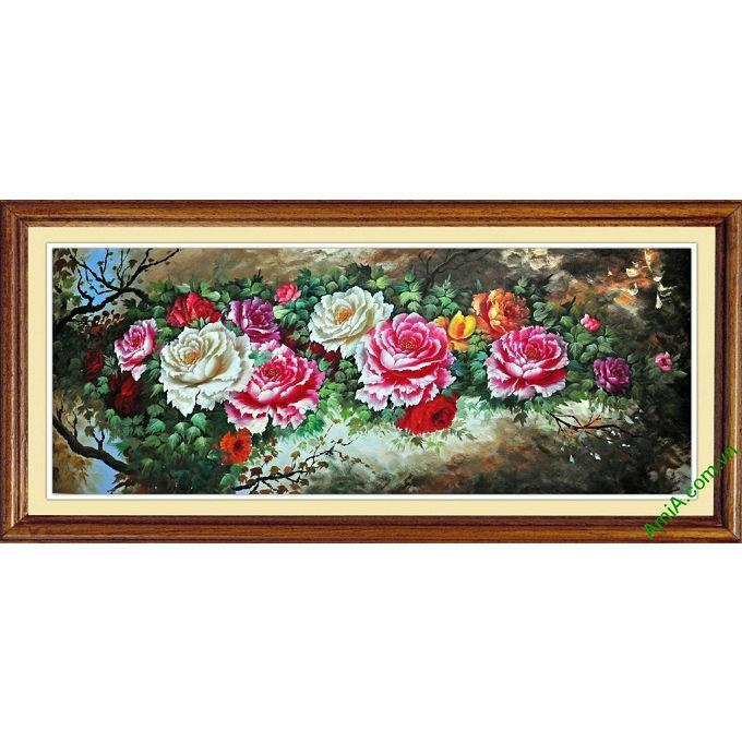 tranh hoa mau don treo phong khach hop phong thuy
