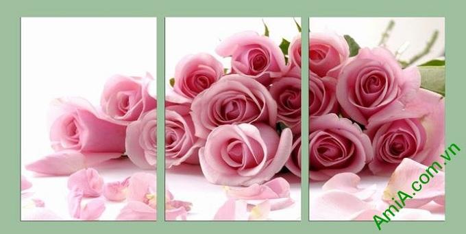 tranh trang tri phong ngu hoa hong tinh yeu dep