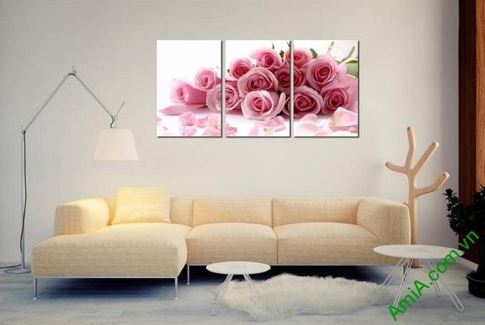 tranh trang tri phong ngu hoa hong tinh yeu ghep bo hien dai