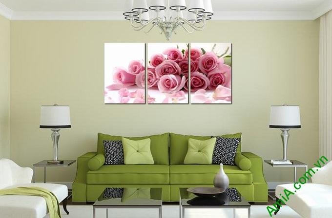tranh trang tri phong ngu hoa hong tinh yeu ghep bo dep