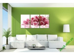 tranh trang tri phong ngu hoa hong tinh yeu ghep bo