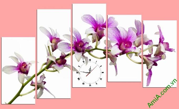 tranh treo phong khach hoa lan tim hien dai trang trong