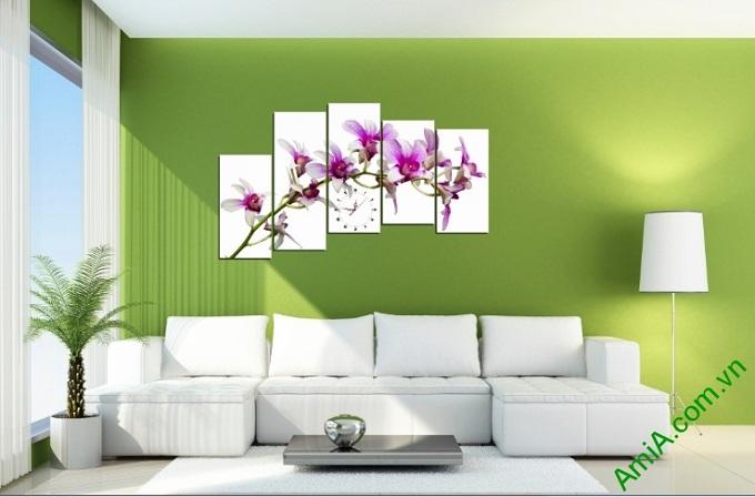 tranh treo phong khach hoa lan tim ghep bo