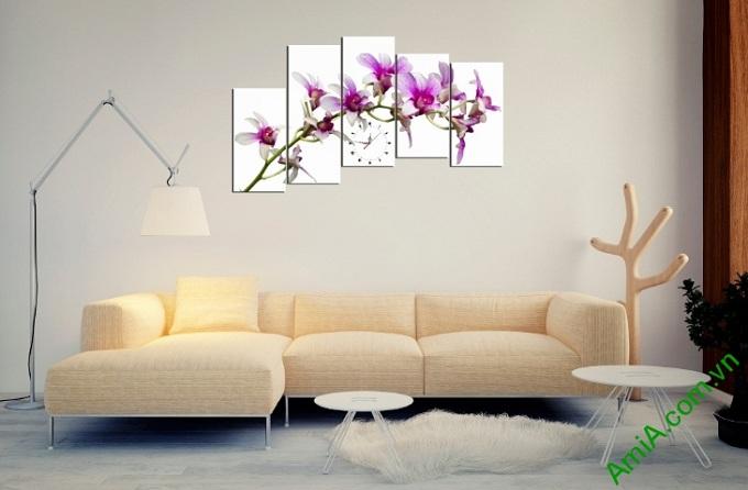 tranh treo phong khach hoa lan tím lang man