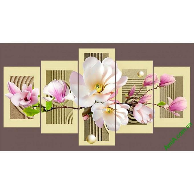tranh treo tuong phong khach hoa moc lan