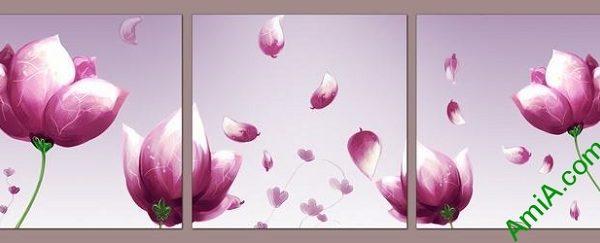mau tranh treo phong ngu hoa tim