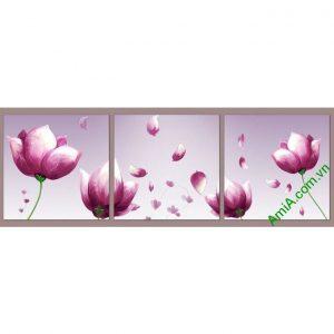 Tranh phòng ngủ hoa tím ghép bộ độc đáo