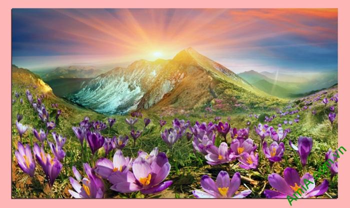tranh phong canh doi hoa nang treo phong khach