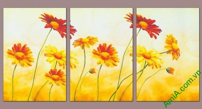 tranh treo phong khach sang trong hoa da quy vang