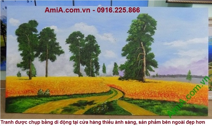 tranh ve son dau phong canh dong que