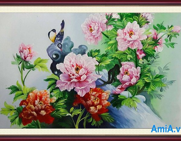 mau tranh trang tri nha hoa mau don ve son dau