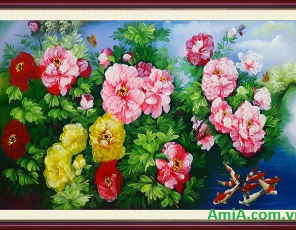 tranh ca chep hoa mau don dep va y nghia