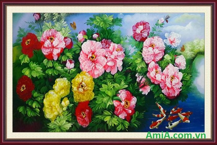 tranh ve hoa mau don treo tet
