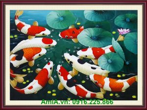 tranh ca chep hoa sen trang tri phong thuy
