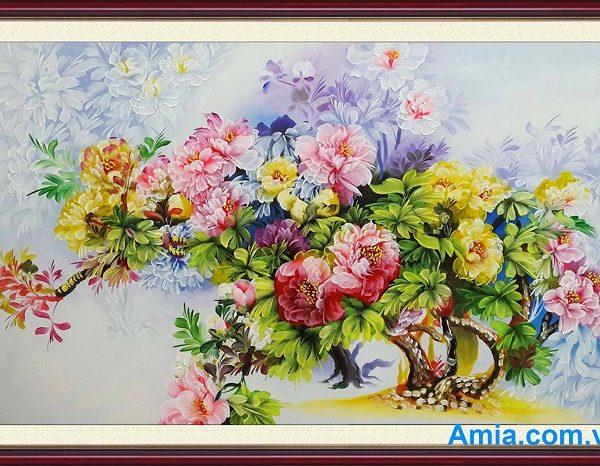 tranh hoa mau don dep nhat cho phong khach