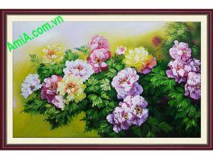 tranh hoa mau don treo phong khach