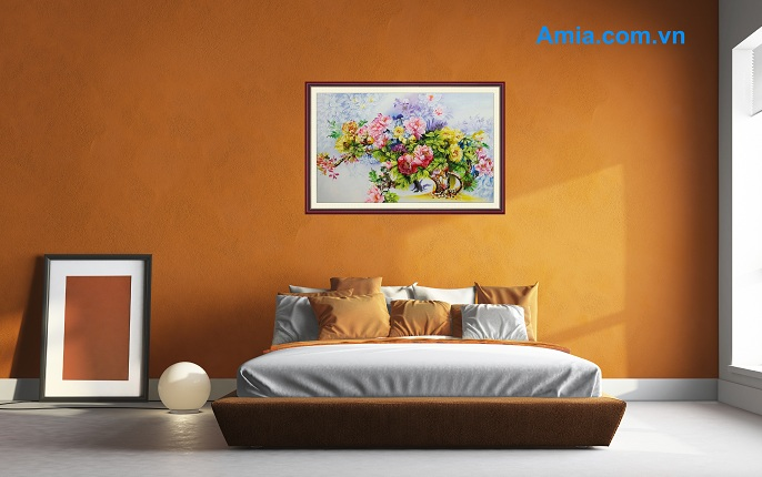 tranh hoa mau don treo phong ngu hien dai