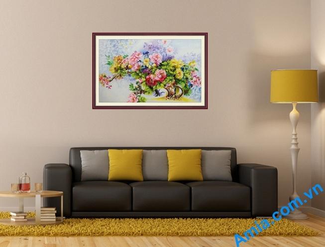 tranh hoa mau don ve bang son dau