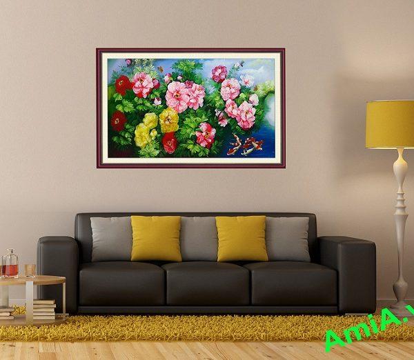 tranh hoa mau don treo phong khach phong thuy va dep
