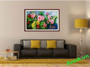 tranh phong khach hoa mau don ve son dau