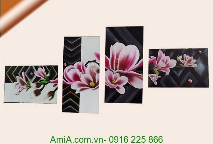 tranh son dau ghep bo hoa moc lan