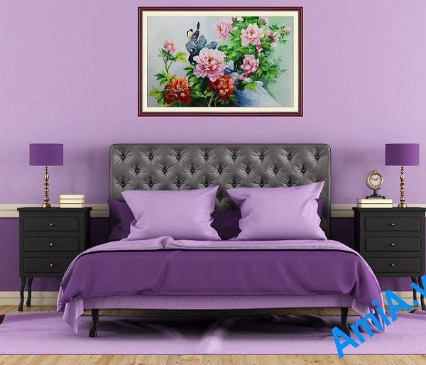 tranh son dau ve hoa mau don