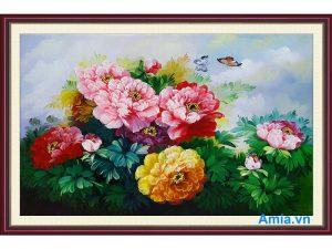 tranh trang tri phong khach hoa mau don