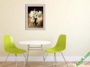 tranh trang tri nha hang lo hoa retro