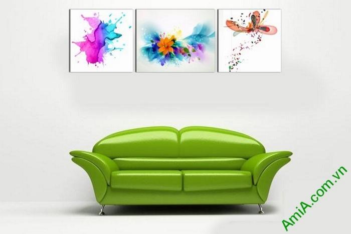tranh trang tri phong khach noi that sofa