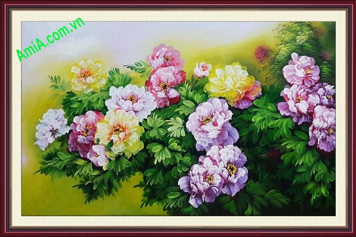 tranh treo phong khach hoa mau don phong thuy va dep