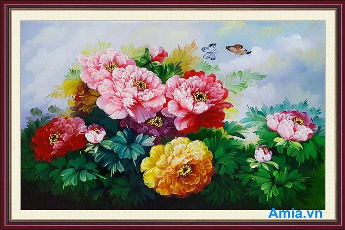 tranh hoa mau don treo phong khach tuoi dau
