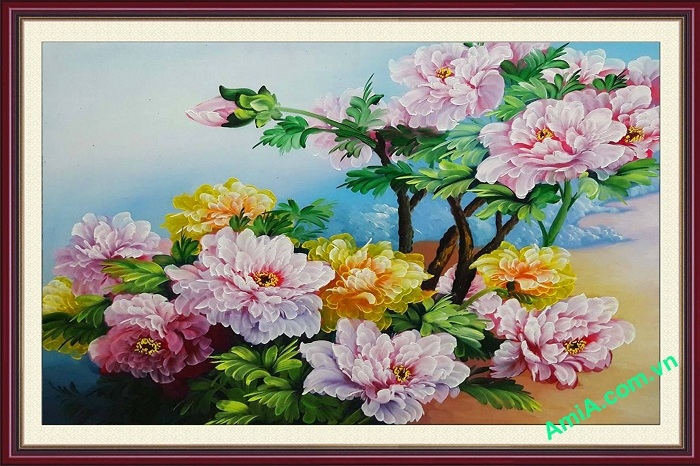 tranh ve son dau hoa mau don