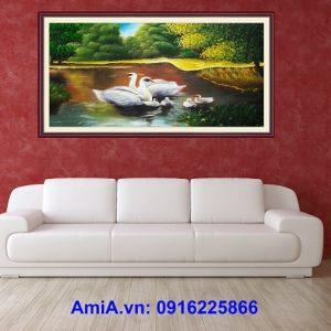 Tranh hồ nước phong cảnh sơn dầu