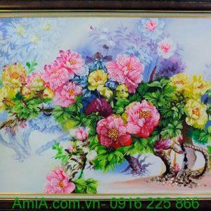 Tranh vườn hoa mẫu đơn khổ lớn treo phòng khách