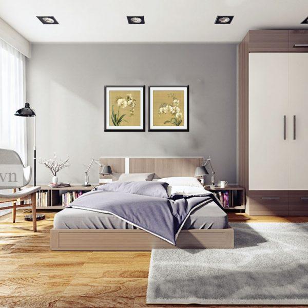Tranh đơn sắc trang trí phòng khách màu xanh lơ