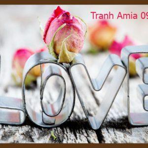 Tranh hoa hồng chữ love trang trí quán cafe