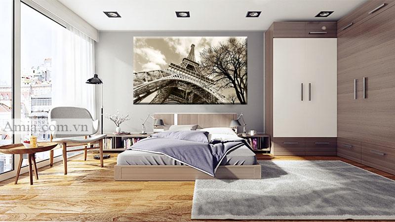 Tranh đen trắng tháp Eiffel