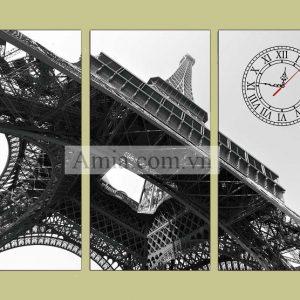 Tranh tháp eiffel 3 tấm đen trắng phong cách hoàng gia