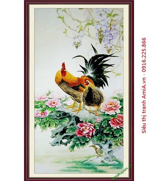 Tranh gà trống hoa mẫu đơn treo tết 2017