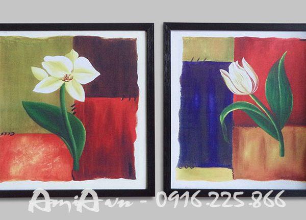 Hinh anh tranh canvas ghep bo hoa la doc dao AmiA
