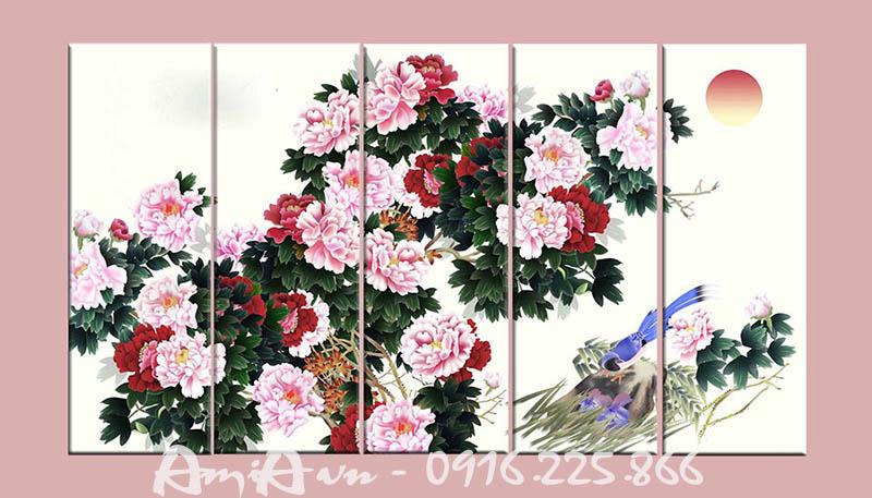 Hinh anh tranh canvas hoa mau don ghep 5 tam AmiA 4123