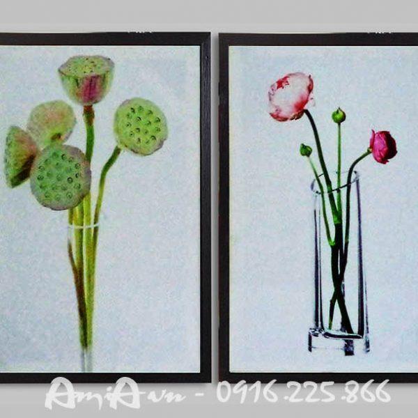 Hinh anh tranh canvas hoa sen hai tam AmiA 4126