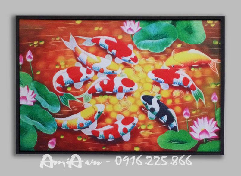 Hinh anh tranh canvas phong thuy ca chep hoa sen AmiA