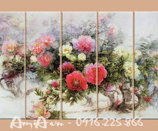 Hinh anh tranh goc hoa mau don treo phong khach phong ngu