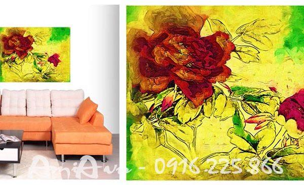 Hinh anh tranh hoa hong canvas treo phong khach phong ngu quan cafe