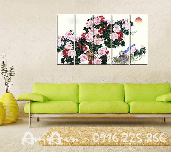 Hinh anh tranh hoa mau don in canvas dep treo phong khach phong ngu