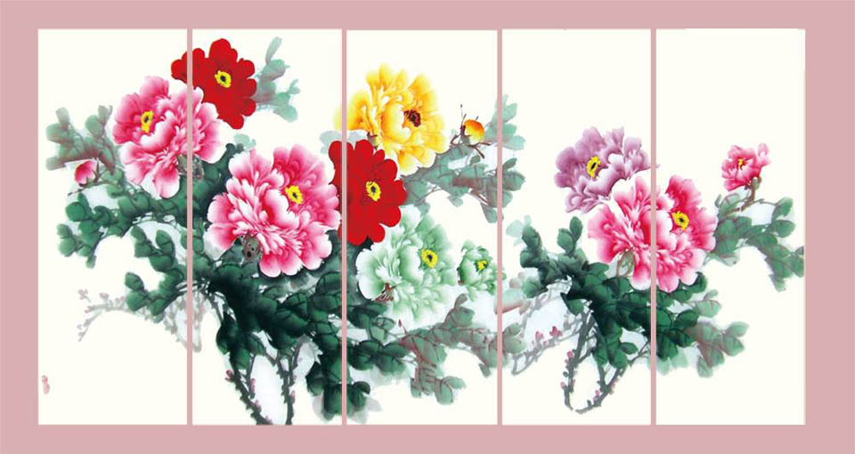 Hinh anh tranh hoa mau don kho lon ghep bo 5 tam