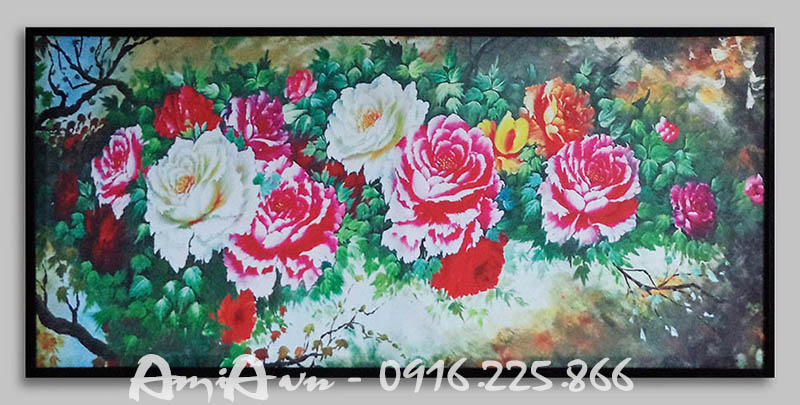Hinh anh tranh khung canvas hoa mau don kho lon amia